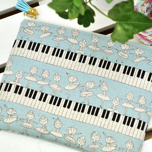 綿麻キャンバス 「 ピアノとバレリーナ 」 生地 かわいい ポップ バレエ