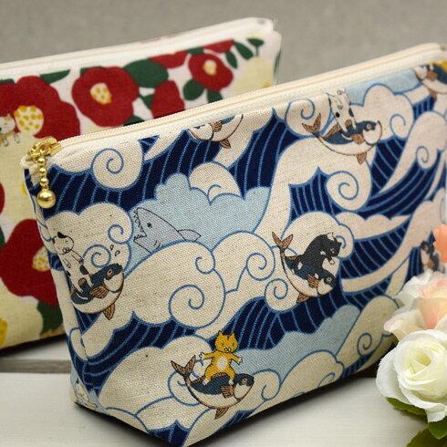 「 綿麻キャンバス ジャパンなねこの物語 」 生地 かわいい 猫 動物