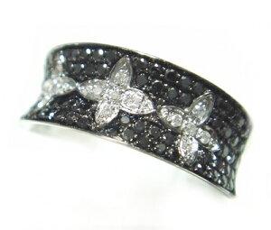 【マイクロセッティング】ひし形が輝く!計0.50ctダイヤ・ブラックダイヤリング