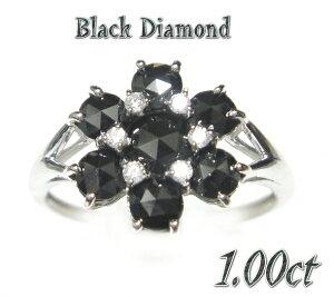 【超特価】ゴージャスローズカットフラワー!計1.00ctブラックダイヤモンドリング