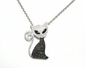 【予約】マイクロセッティングセレブ猫計1.54ctブラックダイヤネックレス&ブローチ】【ねこ,ネコ,白猫,ダイヤニャンコ】