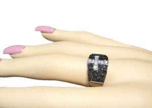 メンズクロスパヴェ1.04ctブラックダイヤモンドリング