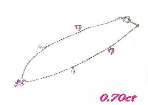 【気まぐれ特価】【ステーション】ハートシェイプ計0.70ctピンクサファイア&ダイヤブレスレット