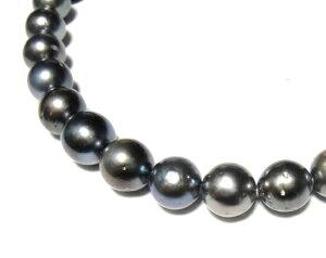 【限定特価】照り重視!南洋真珠ラウンド約9.5mm-12.5mmパールネックレス【黒蝶貝】【ピーコック】【39ピース】
