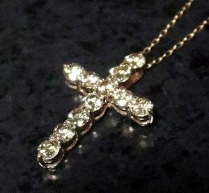 キラキラクロス11石K18PG計0.94ctブラウンダイヤモンドペンダントトップ【ユニセックス,十字架,cross】