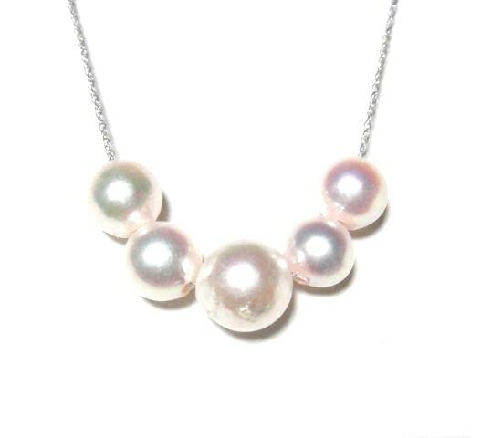 グラデーション5個K18アコヤ真珠New6.5-8.5mmネックレス【ホワイトピンク】【リアルタイム,ゴールド-真珠】【パール,あこや真珠,和珠,本真珠】【ネコポス送料無料】