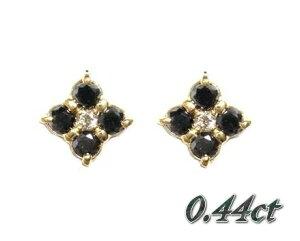 【フラワーキュート】幸せの四葉♪計0.44ctブラックダイヤモンドピアス