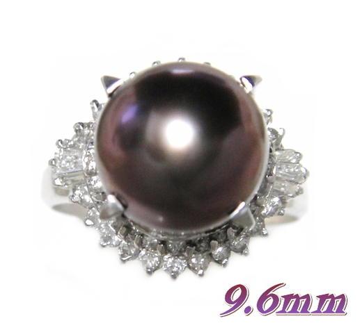南洋黒蝶真珠9.6mm幅!ブラウン&超立体取り巻きPt計0.51ctダイヤ&パールリング