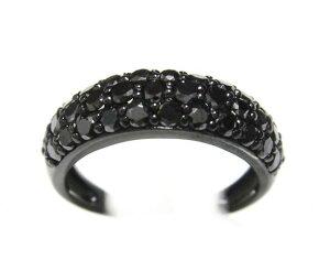 【予約】光沢でキラリ!パヴェ計1.00ctUPブラックダイヤモンドリング