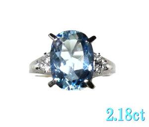 【気まぐれ特価】アンティーク調立体枠オーバルPt2.18ctアクアマリン&ダイヤリング【3月の誕生石】