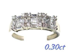 【限定】気品あるバケットミックスデザインPt計0.30ctダイヤモンドリング