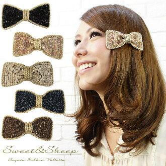 &Sheep women's Sweet glitter Ribbon Barrette ◆ sequin Ribbon Barrette