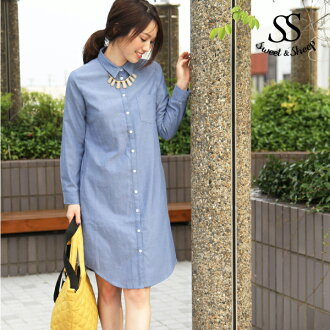 Tops bottoms Shin pull knee long Japanese paper sleeve button Lady's Sweet & Sheep original ◆ Oxford shirt-dress