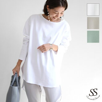 It is godmother long shot length figure cover adult size cotton 100% cotton mom big relaxedly for 40 for tops long sleeves no person wearing white kimono T Ron T long T-shirt pullover casual Shin pull 30 generations which is not transparent in cut-and-se
