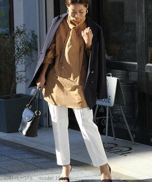 ブラウスレディース秋冬トップスふんわり首元おしゃれママお出かけ母オフィス通勤大人かわいい上品9号11号13号ゆったりシンプル長袖ブラックモカライトグレー3色30代40代