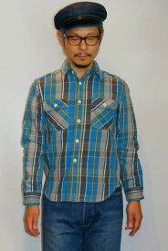 """JELADO (ジェラード) ヘヴィーネルシャツ (ショート丈) JP42133 """"Unionworkers Shirts (ユニオンワーカーズシャツ)"""" オールドブルー"""