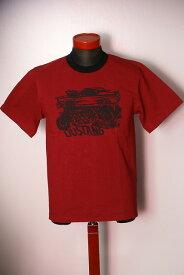 """代引手数料・送料無料 DELUXEWARE (デラックスウエア) 半袖Tシャツ DLT-1503B """"DUSTANG"""" レッド"""