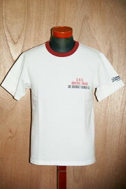 """代引手数料・送料無料 DELUXEWARE (デラックスウエア) 半袖Tシャツ 7002 """"C.V.C."""" ホワイト×レッド"""