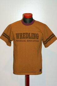 """代引手数料・送料無料 DELUXEWARE (デラックスウエア) 半袖Tシャツ DLT-1505B """"WREDLING"""" マスタード"""