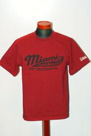 """代引手数料・送料無料 DELUXEWARE (デラックスウエア) 半袖Tシャツ DLT-1602F """"MIAMI MOTORCYCLE"""" レッド"""
