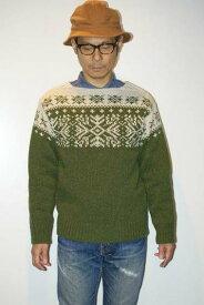 """JELADO (ジェラード) ウール・ローゲージニット JP43836 """"Nordic Knit (ノルディックニット)"""" ティーグリーン×バニラ"""