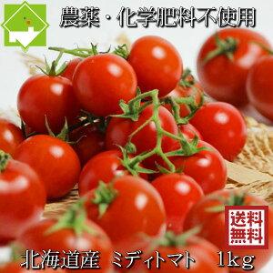 トマト 送料無料 農薬使用ゼロ 完熟 ミディトマト 1kg 北海道産 別途送料が発生する地域あり 日時指定不可 7月下旬発送開始