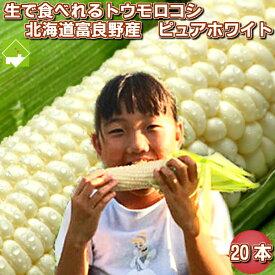 生で食べれるトウモロコシ 北海道富良野産 ピュアホワイト20本 送料無料