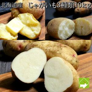 じゃがいも 10kg 送料無料 北海道産 3種類のジャガイモ10kgセット(メークイーン・男爵・はるか) 別途送料が発生する地域あり