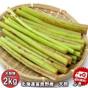 山菜 送料無料 北海道ふらの産 天然 無農薬 ふき 2kg 別途送料が発生する地域があります