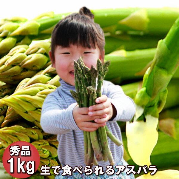 アスパラガス 北海道 富良野産 送料無料 グリーン スイートアスパラ 秀品 1kg S〜Lサイズ込【生】で食べられる 別途送料が発生する地域あり