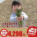 アスパラガス グリーン 秀品 S-Lサイズ込2kg 【生】で食べられる!北海道富良野産 送料無料【10P03Dec16】