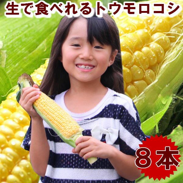 とうもろこし 北海道富良野産 フルーツトウモロコシ 恵味8本入 送料無料 別途送料が発生する地域あり