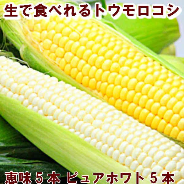 北海道富良野産2色の とうもろこし セット ピュアホワイト5本・恵味5本 送料無料【DEAL】