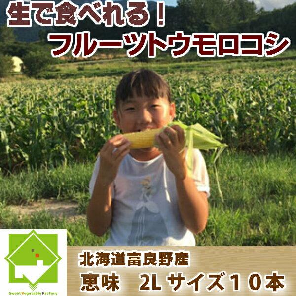 北海道富良野産 生で食べれるフルーツトウモロコシ 恵味 2Lサイズ 10本入り