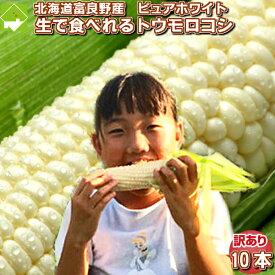 とうもろこし ピュアホワイト 訳あり 10本入り 北海道 富良野産 送料無料