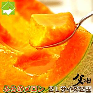 【父の日配送】北海道富良野産 赤肉メロン 2Lサイズ 2玉 【送料無料】【10P03Dec16】