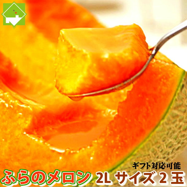 メロン 北海道富良野産 赤肉メロン 2Lサイズ 2玉入り【送料無料】 【お中元ギフト】【DEAL】
