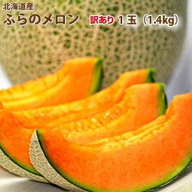 訳ありメロン 北海道富良野産 赤肉 富良野メロン(ワケアリ)規格外  1.4kg 1玉