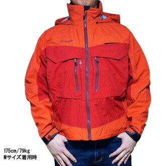 支持西姆斯戈尔纺绩品导游钓鱼茄克SIMMS G3 Guide Jacket Fury Orange Gore-Tex的02P06Aug16