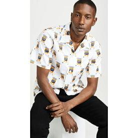 (取寄)ケンゾー ライス バッグ プリント ショット スリーブ ボタン ダウン シャツ KENZO Rice Bag Print Short Sleeve Button Down Shirt White
