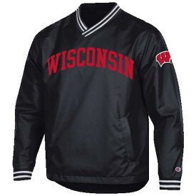 (取寄)チャンピオン メンズ カレッジ スカウト プルオーバー ジャケット ウィスコンシン バッジャーズ Champion Men's College Scout Pullover Jacket ウィスコンシン バッジャーズ Black Red