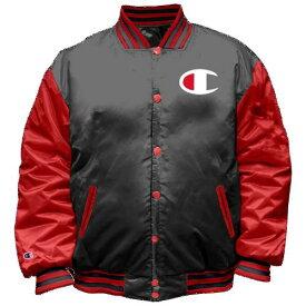 (取寄)チャンピオン メンズ バーシティ ボンバー ジャケット Champion Men's Varsity Bomber Jacket Black Red
