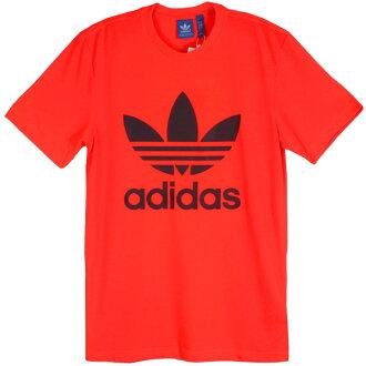 阿迪达斯标识T shatsuorijinarusumenzutorefoiruorenji adidas originals Men's Trefoil Tee Solar Red