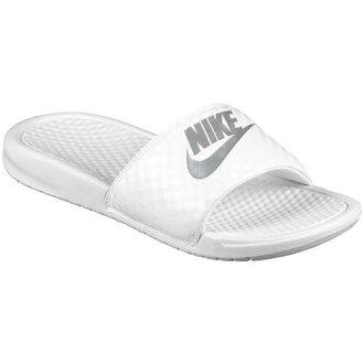 NIKE Nike Sandals Womens Benassi JDI slide Nike Benassi JDI Slide Women's White Metallic Silver 02P28Sep16