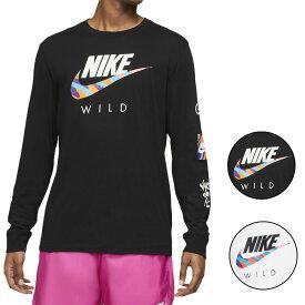 NIKE ナイキ Tシャツ ロンT 長袖Tシャツ メンズ スウォッシュロゴ ワイルド フューチュラ ロングスリーブ ブラック/ホワイト Nike Men's Wild Futura L/S T-Shirt Black White Multi