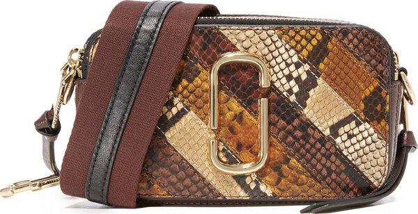 (取寄)Marc Jacobs Snake Patchwork Snapshot Camera Bag マークジェイコブス スネーク パッチワーク スナップショット カメラ バッグ Tan Multi