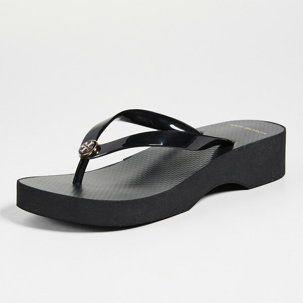 トリーバーチ ウェッジソール サンダル ブラック Tory Burch Wedge Thin Flip Flops Black【靴 シューズ ビーチサンダル 厚底サンダル 大きいサイズ】