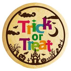 ハロウィン お菓子 メッセージクッキー TRICK or TREAT 墓地の古城 イラスト 個包装