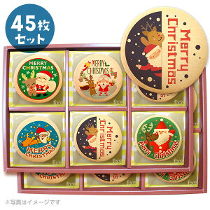 クリスマスパーティ スイーツ メッセージクッキー サンタさんと一緒にハッピークリスマス 個包装で配りやすい お得な45枚セット