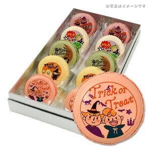 ハロウィン お菓子 メッセージマカロン かわいいキッズがトリックオアトリート 10個セット 手作り スイーツ ギフト